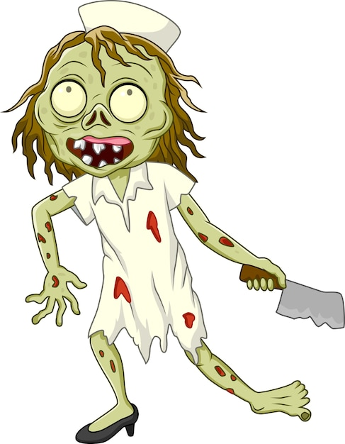 Enfermeira de zumbi dos desenhos animados sobre fundo branco Vetor Premium