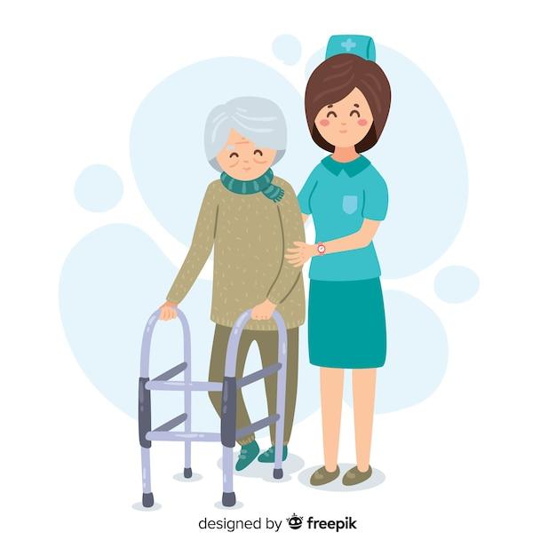Enfermeira desenhada de mão com o paciente Vetor grátis