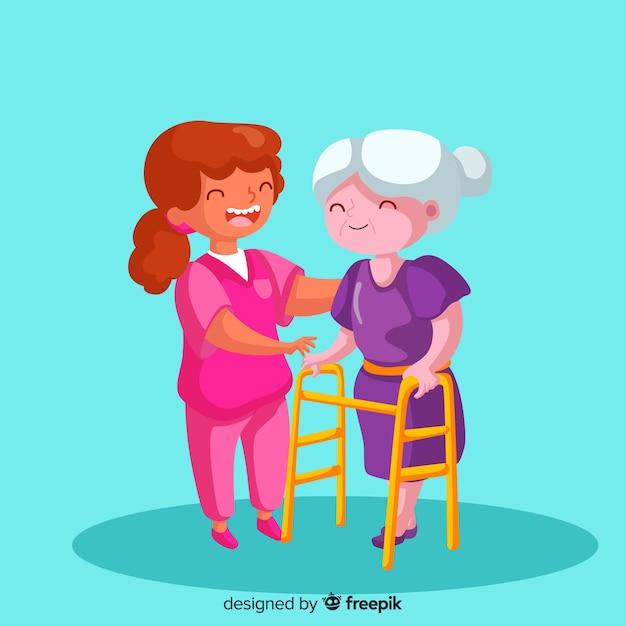Enfermeira dos desenhos animados, cuidando do paciente Vetor grátis