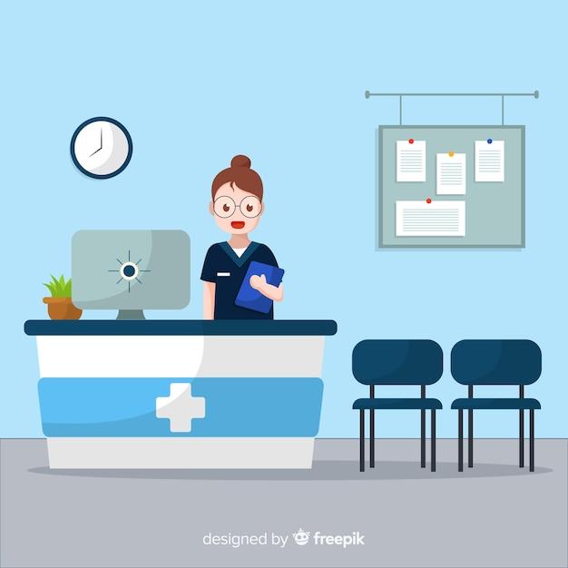 Enfermeira em pé hospital recepção fundo Vetor grátis