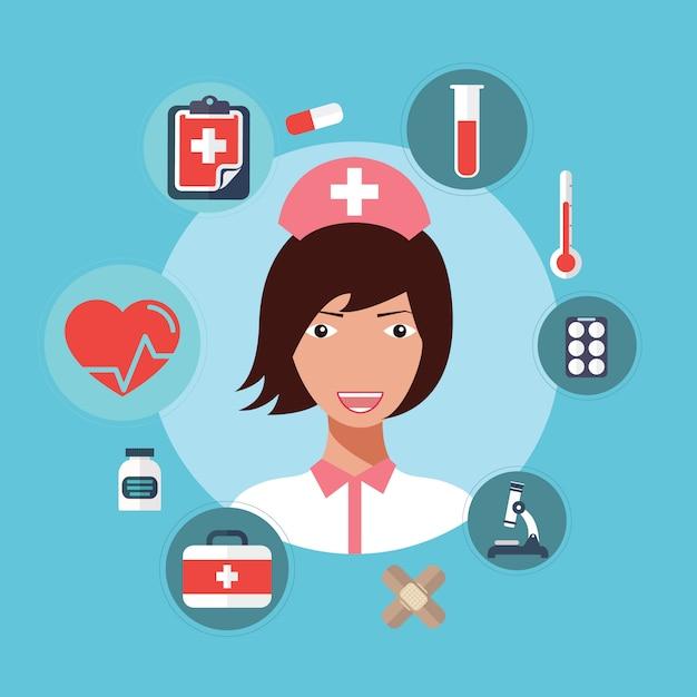 Enfermeira médico feminino avatar vector a ilustração. Vetor Premium