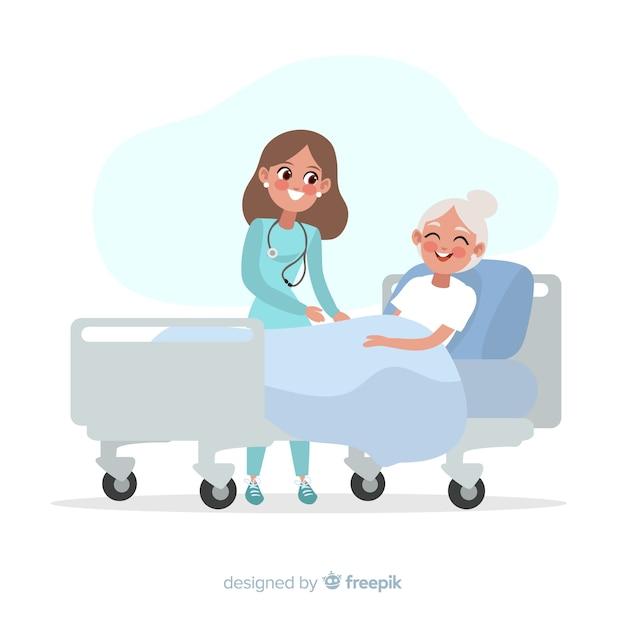 Enfermeira plana ajudando paciente doente Vetor grátis