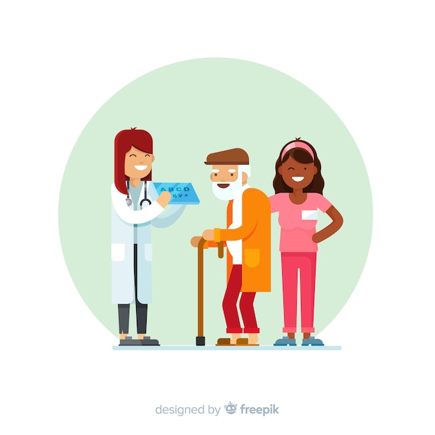 Enfermeira plana ajudando paciente Vetor grátis
