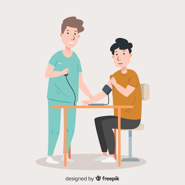 Enfermeira plana com paciente Vetor grátis