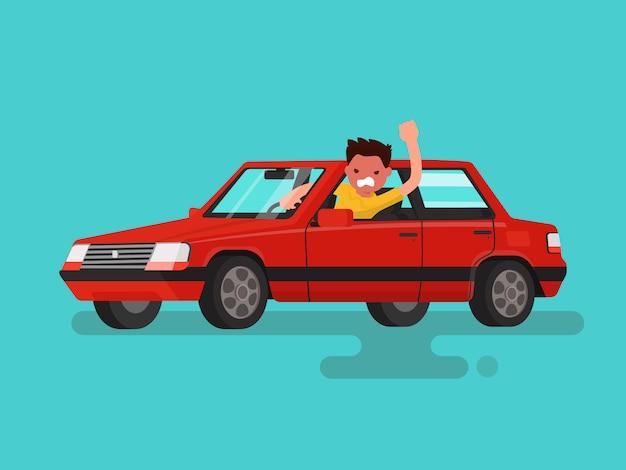 Engarrafamentos. homem bravo jura no carro. Vetor Premium