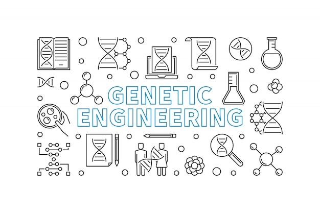 Engenharia genética delinear banner horizontal. Vetor Premium