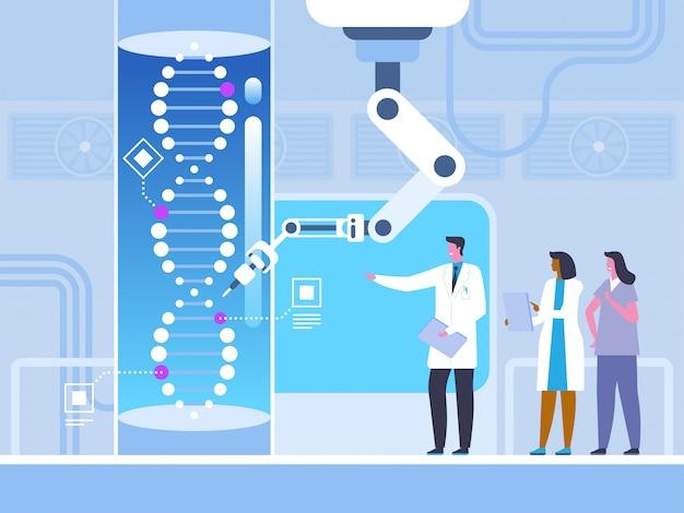 Engenharia genética em estilo simples Vetor Premium