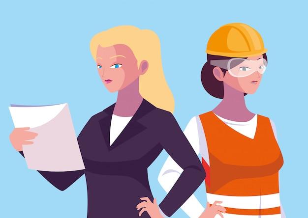 Engenheiro de desenhos animados de mulheres de avatar Vetor Premium