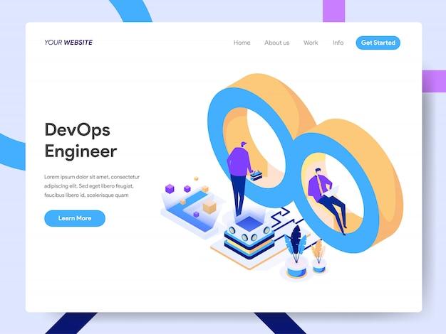 Engenheiro de desenvolvimento e operações ilustração isométrica para página do site Vetor Premium