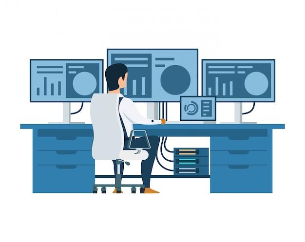 Engenheiro masculino trabalhando no computador multi display Vetor Premium