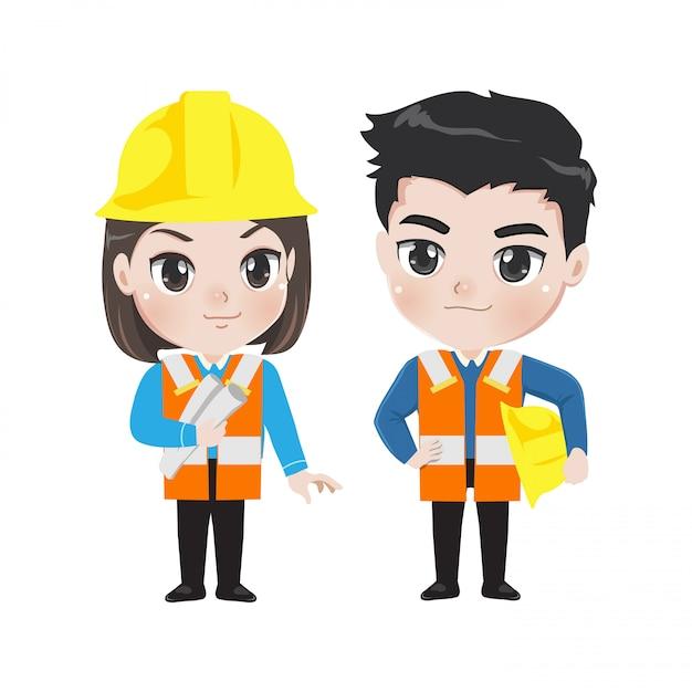 Engenheiro menino e menina bonito e inteligente. Vetor Premium