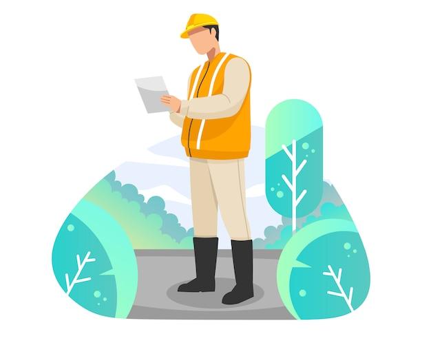 Engenheiro perto da ilustração em vetor reparação trabalho estrada plana Vetor Premium