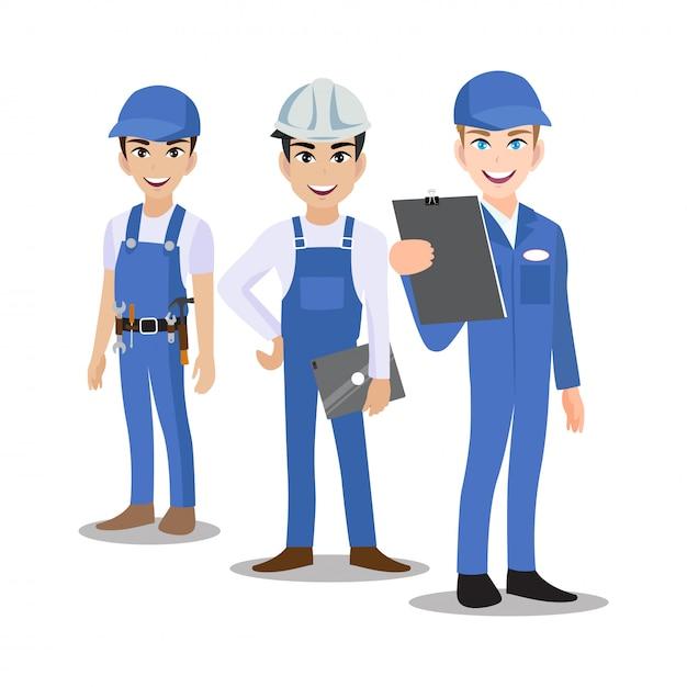 Engenheiro, técnico, construtores e mecânicos pessoas trabalho em equipe personagem de desenho animado ou estilo simples. Vetor Premium