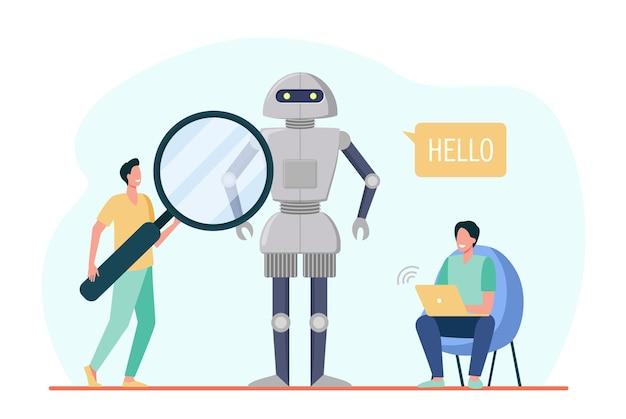 Engenheiros criando robô. humanóide falando olá, homens com laptop e lupa. ilustração de desenho animado Vetor grátis