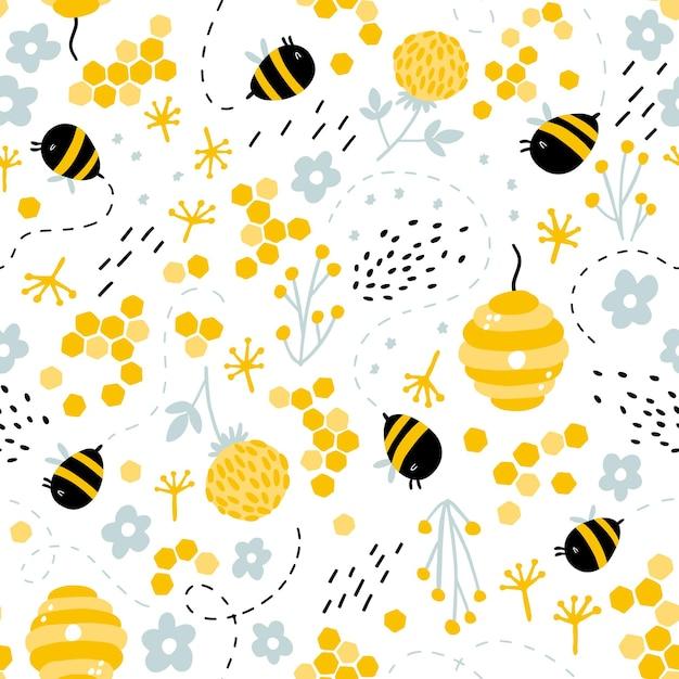 Engraçado abelhas e colmeia em ervas e flores padrão sem emenda. Vetor Premium