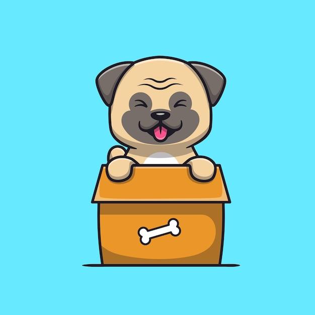 Engraçado cão pug brincando na caixa de desenho animado Vetor grátis