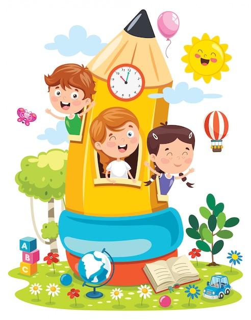 Engraçado crianças brincando na casa de lápis Vetor Premium