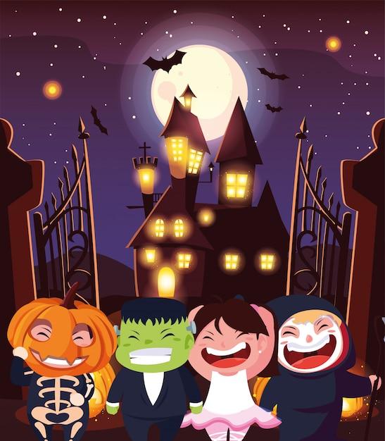 Engraçado crianças disfarçam em cena de halloween Vetor Premium