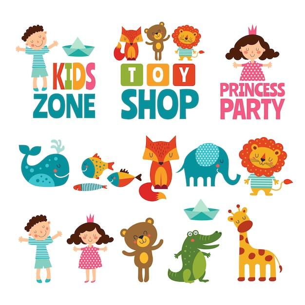 Engraçado de crianças e animais. Vetor Premium