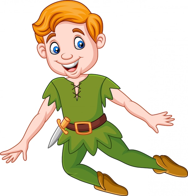 Engracado Dos Desenhos Animados Peter Pan Vetor Premium