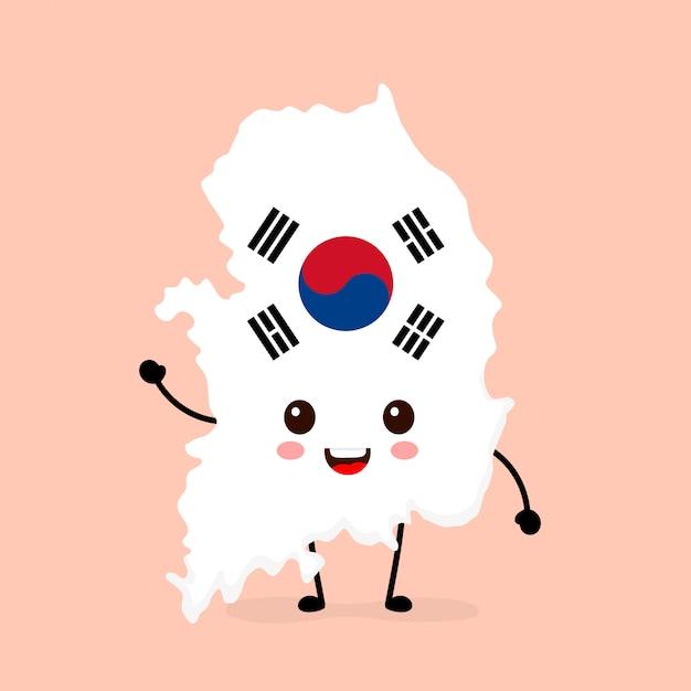 Engraçado engraçado sorrindo feliz coreia do sul mapa e bandeira personagem. Vetor Premium