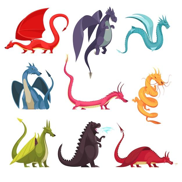 Engraçado fogo colorido respiração monstros dragões serpente estranha como criaturas plana dos desenhos animados ícones conjunto isolados Vetor grátis