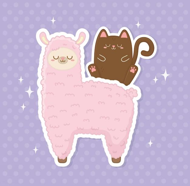 Engraçado lama peruana e gato kawaii caracteres Vetor Premium