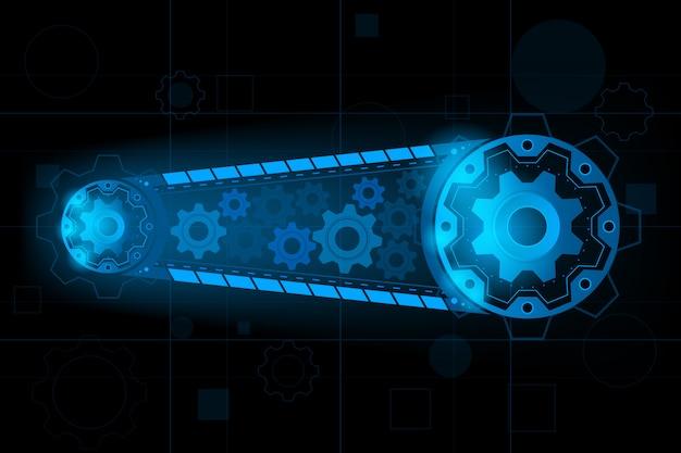 Engrenagem do motor futurista para o sistema para a frente para future.vector e ilustração Vetor Premium