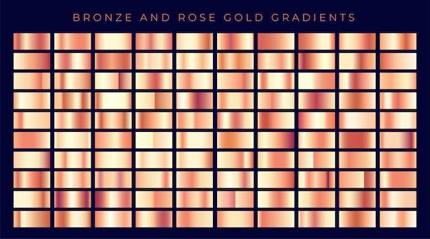 Enorme coleção de ouro rosa ou gradientes de cobre Vetor grátis