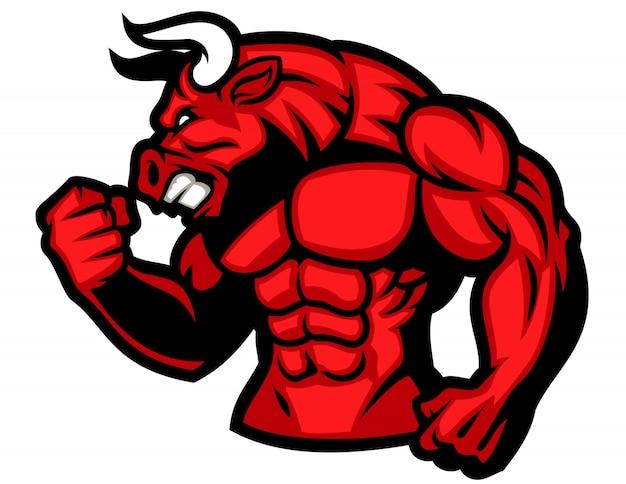 Enorme músculo do touro vermelho Vetor Premium