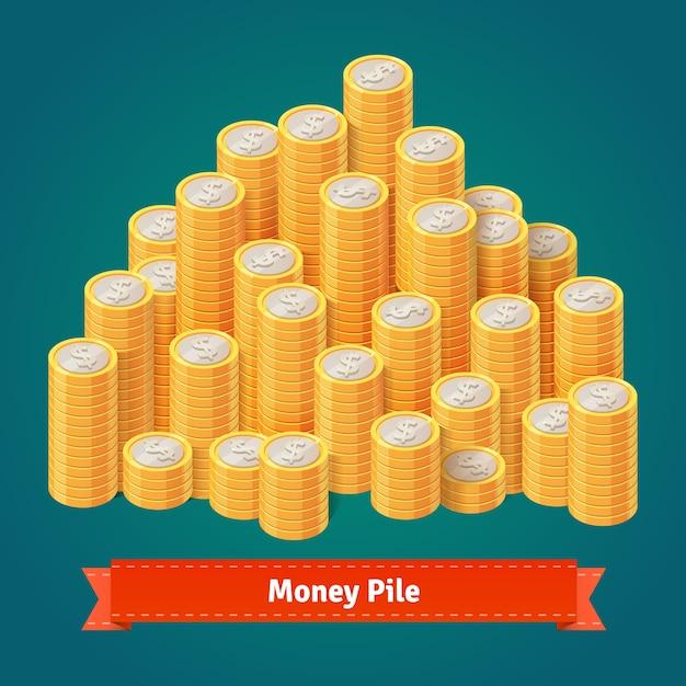 Enorme pilha de moedas de ouro empilhadas. Vetor grátis