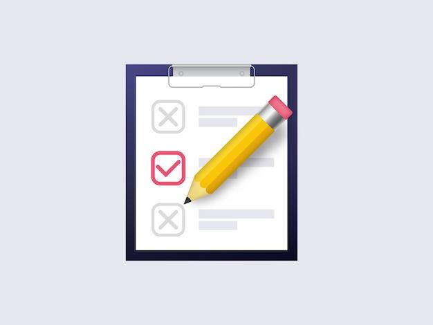 Enquete teste grande ícone realista. Vetor Premium
