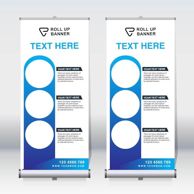 Enrole a faixa, puxe a faixa, x-banner, modelo de design de novo vetor vertical moderno Vetor Premium