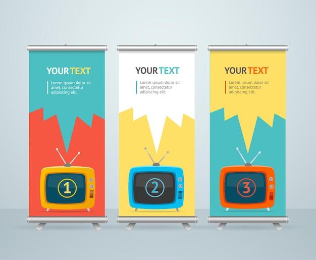 Enrole design de suporte de banner com televisão retro. flat designt. Vetor Premium