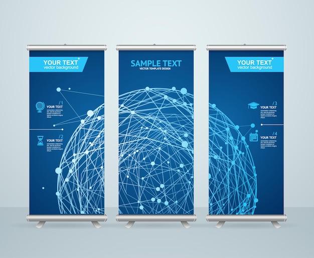 Enrole o design de suporte de banner com esfera brilhante abstrata. conceito científico. Vetor Premium
