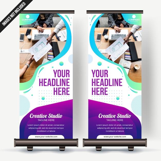 Enrole o negócio de banner com gradiente colorfull Vetor Premium