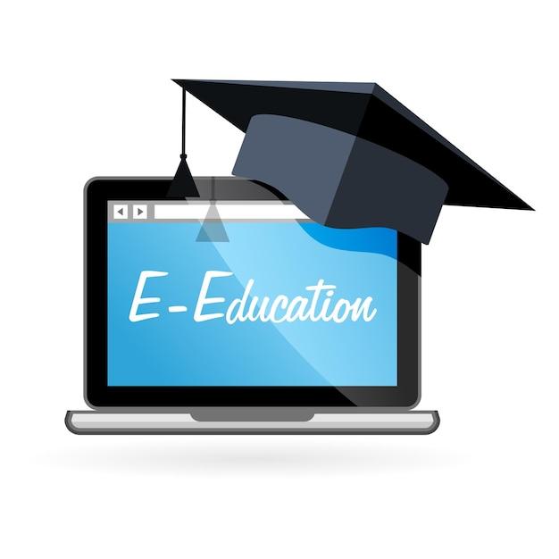 Ensino à distância - laptop e chapéu acadêmico, e-educação Vetor Premium