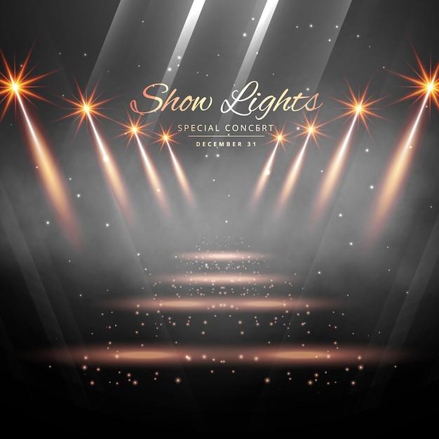 Enterance palco com as luzes do ponto Vetor grátis
