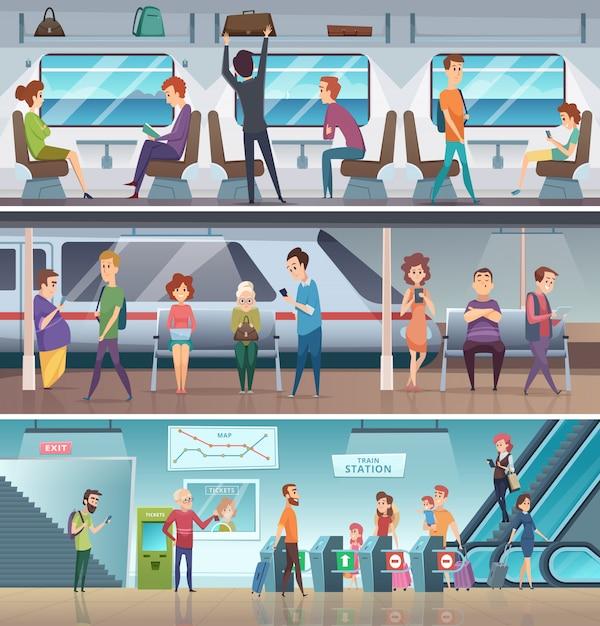 Entrada do metrô. metro urbano sair eletrônico etapas plataforma estação cidade transporte rápido fundo dos desenhos animados Vetor Premium