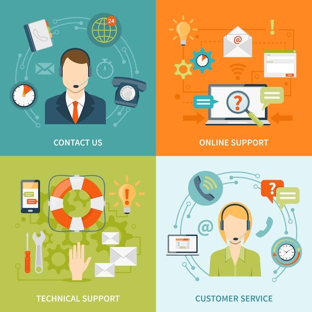 Entre em contato conosco com os elementos e os caracteres do suporte ao cliente Vetor grátis