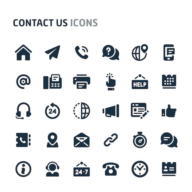 Entre em contato conosco conjunto de ícones. série de ícone preto fillio. Vetor Premium