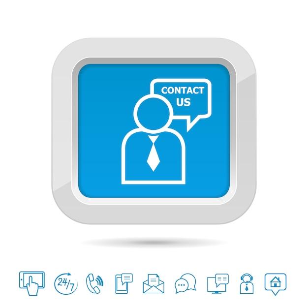 Entre em contato conosco modelo de botão Vetor Premium