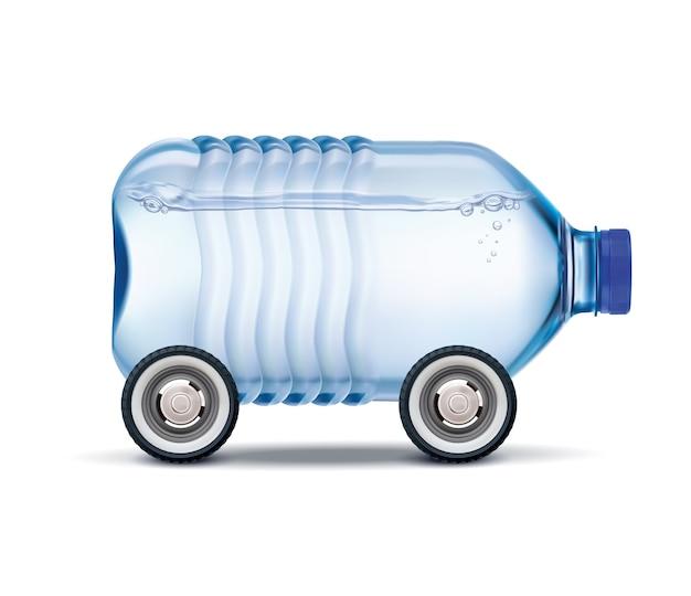 Entrega de água grande garrafa de plástico de água potável sobre rodas ilustração realista Vetor Premium