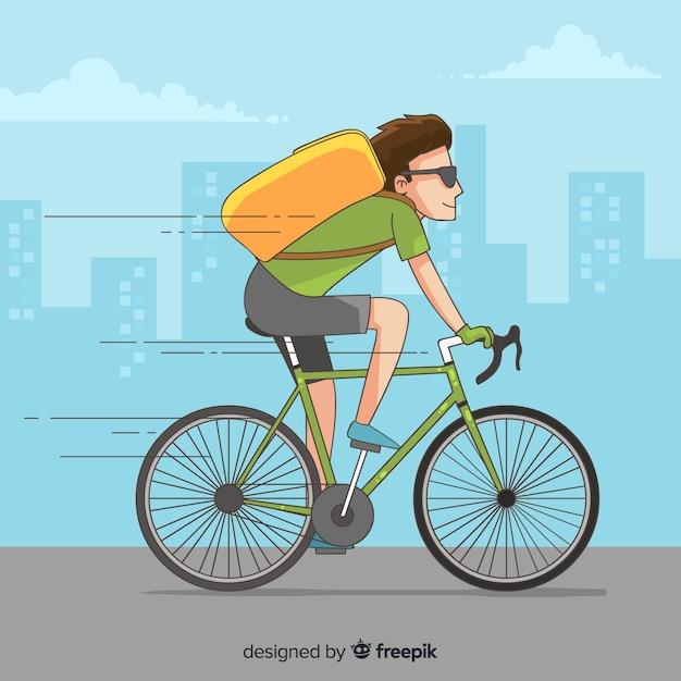 Entrega de bicicleta Vetor grátis