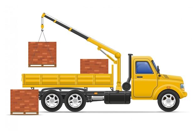 Entrega de caminhão de carga e transporte de ilustração em vetor conceito materiais de construção Vetor Premium