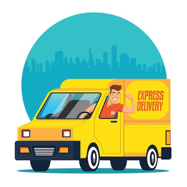 Entrega de caminhões com motorista Vetor Premium