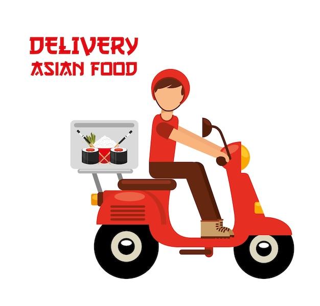 Entrega de comida asiática Vetor Premium