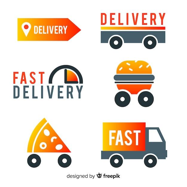 Entrega de comida coleção de modelo de logotipo Vetor grátis