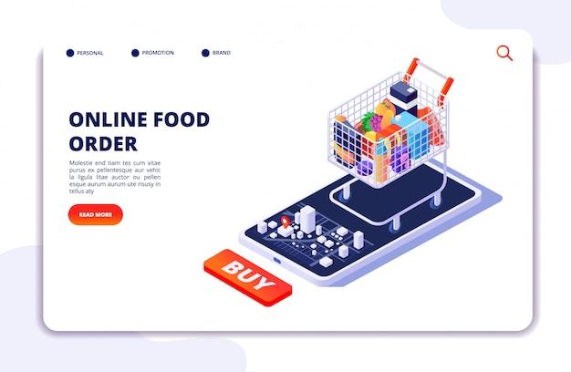 Entrega de comida de supermercado. pedido on-line com aplicativo móvel. internet conceito isométrico de restaurante de comida Vetor Premium
