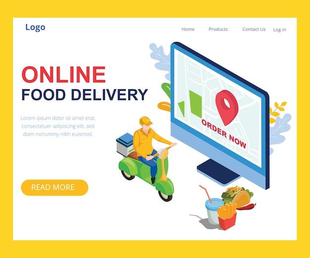 Entrega de comida on-line design isométrico Vetor Premium